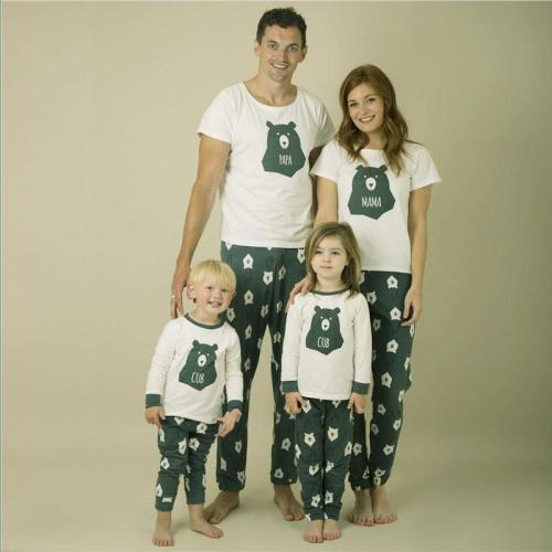 Christmas Bear T-shirt+Floral Printing Pants Mother Daughter Clothes Matching Family Outfits