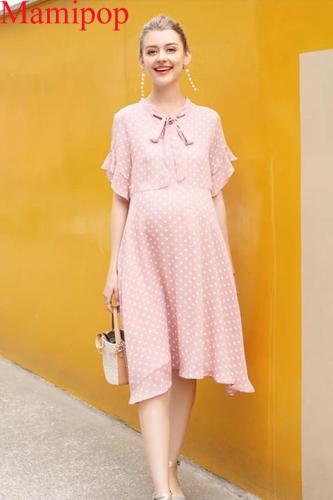 Pregnant Women Summer High Fashion O Neck  Dot Chiffon Dress