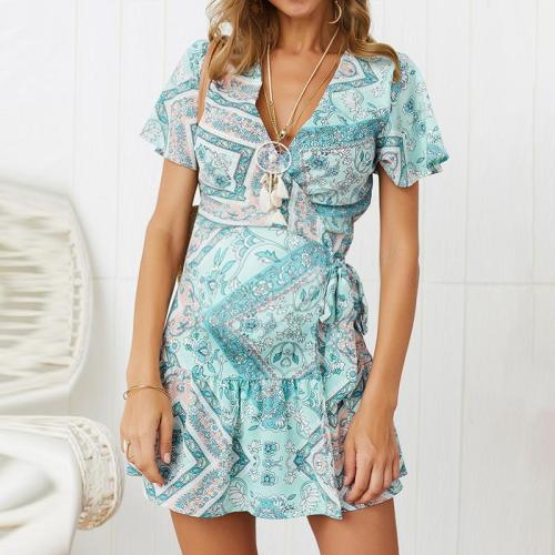 Maternity V-Neck Printing Asymmetrical Casual Above Dress
