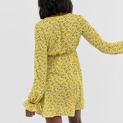 Maternity Sweet V Neck Long Sleeve Floral Pattern Dress