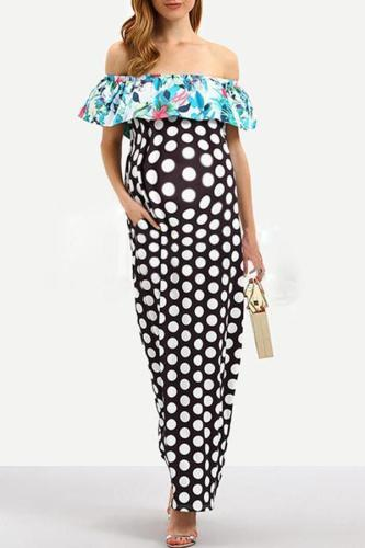 Maternity Ruffle Patchwork Wave Point Long Dress