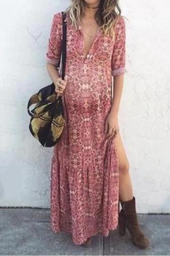 Maternity Bohemian Printing Deep V Forked Dress-Pink