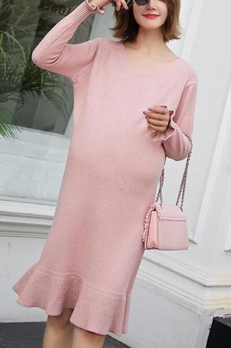 Maternity Solid Color V-Neck Long Sleeve Sweater Dress