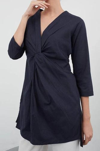 Summer Sexy V-neck Pleated Shirt Loose Asymmetric Top