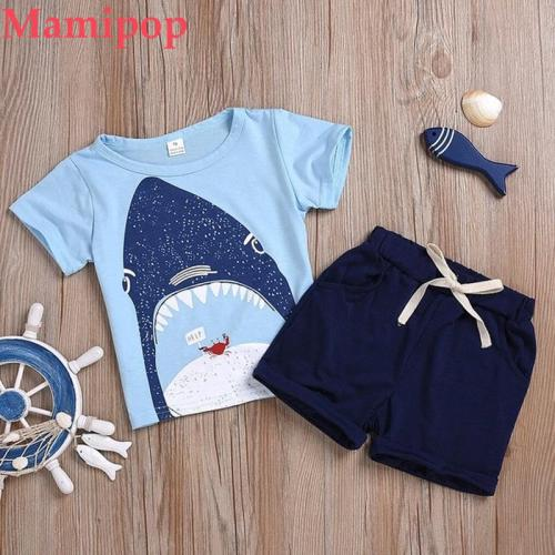 Cute Toddler Kids Baby Boys Pajamas Cartoon T Shirt Tops Short 2PC Outfits