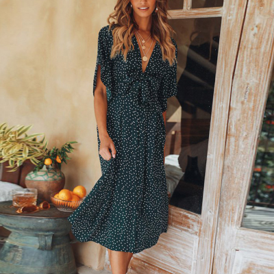 Maternity Casual Fashion V Collar Flare Sleeves Floral Dress
