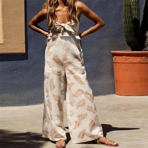 Maternity Casual Leaf Printed Knot Jumpsuits