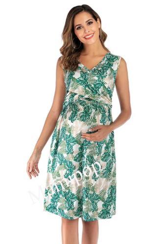 2020 V Collar Printed Maternity Dress Short Sleeve Breast-feeding Dress A-line Skirt