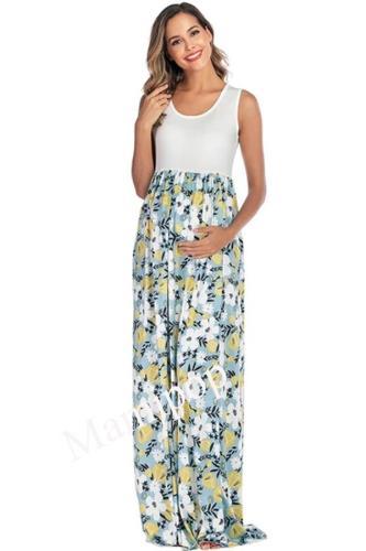 U-neck Sleeveless Printed Panel Long Maternity Dress