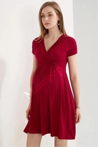 Summer Short Sleeve V-neck Maternity Dress