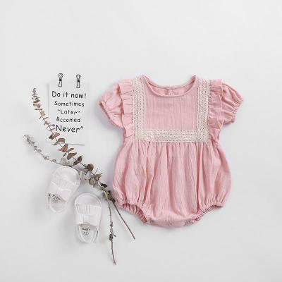 Summer New Girl's Baby Lace Side Romper Baby Cotton Sleeveless One Piece Creeper