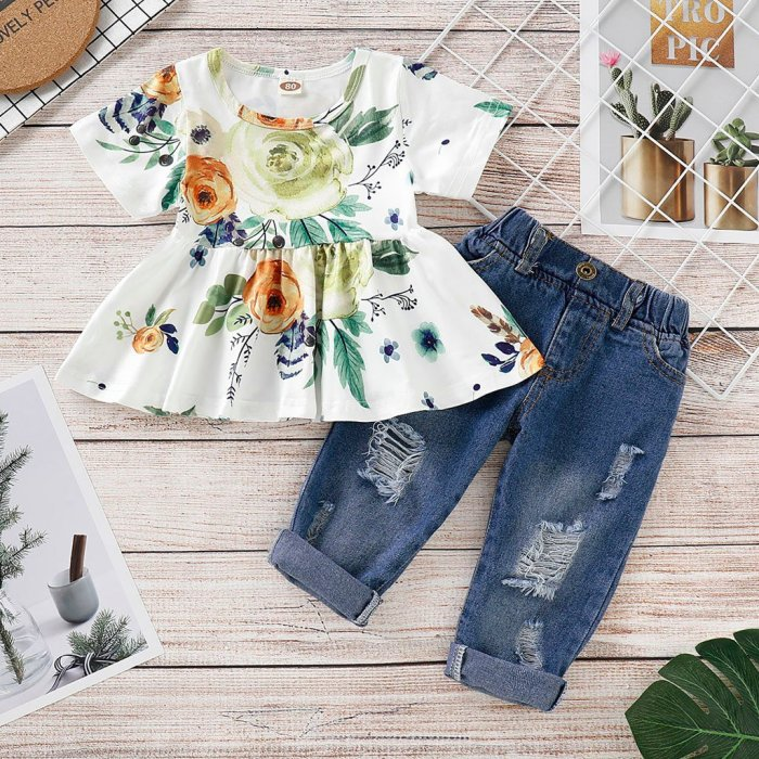 Baby Girl Floral Crop Tops Hole Denim Pants Jean Outfits Set