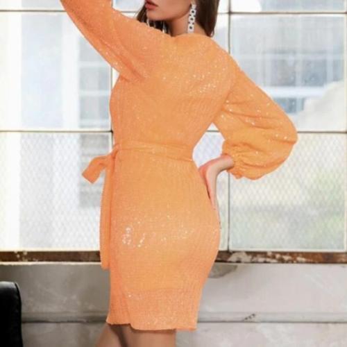Maternity Fashion Deep V-Neck Solid Color Belt Long Sleeve Dress