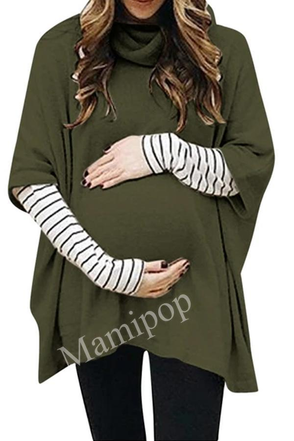 Spring Women Pregnant Maternity Breastfeeding T-shirts Long Sleeve Solid Color Stitching Hooded Sweater