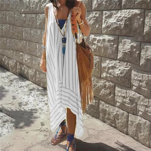 Maternity Deep V-Neck Loose Striped Printed Sleeveless Long Dress