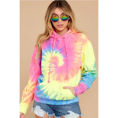 Autumn and Winter new style women's wear gradual Tie Dye Drawstring Pullover Sweater