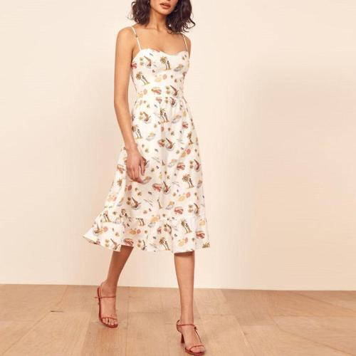Casual Sling Sleeveless Printed Dress