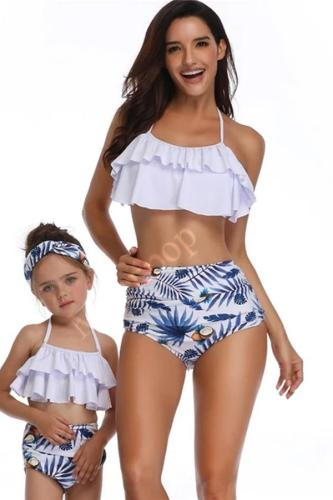 2020 Swimwear Printed High Waisted Bikini Parent-child -Swimwear