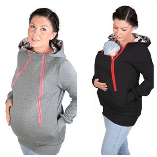 Pregnant Women Wear 2020 Two-in-one Kangaroo Zipper Cap Casual Wear Jacket