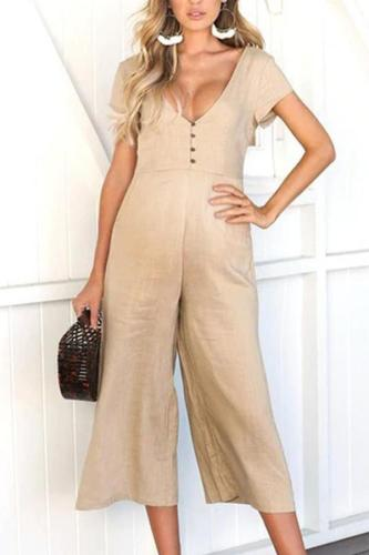 Maternity V-Neck Short Sleeve Jumpsuit