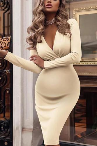 Maternity Sexy Pure Color Deep V Neck Long Sleeve Dress