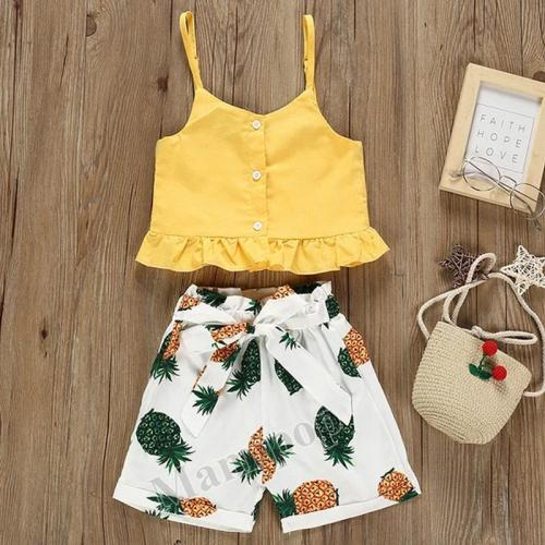 2020 children's summer suit new ins sling pineapple short two piece set