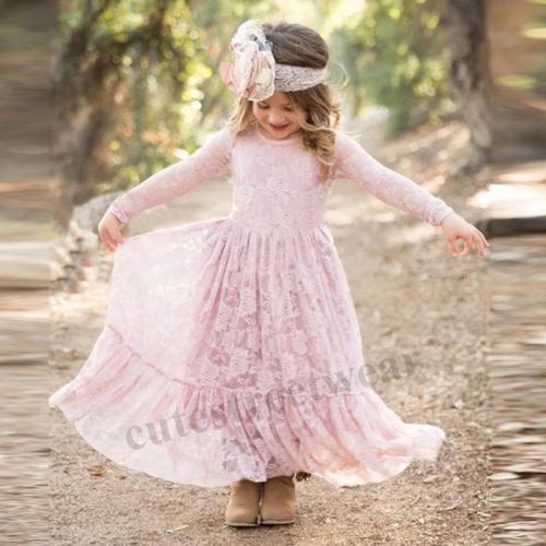 2020 autumn children's dress lace hollow long sleeve girl's dress
