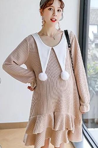 Maternity Dresses Winter Pregnant Women Sweater Dress