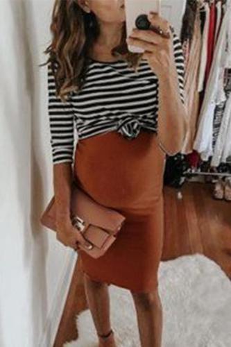 Maternity Solid Color  V-Neck Cami Dress