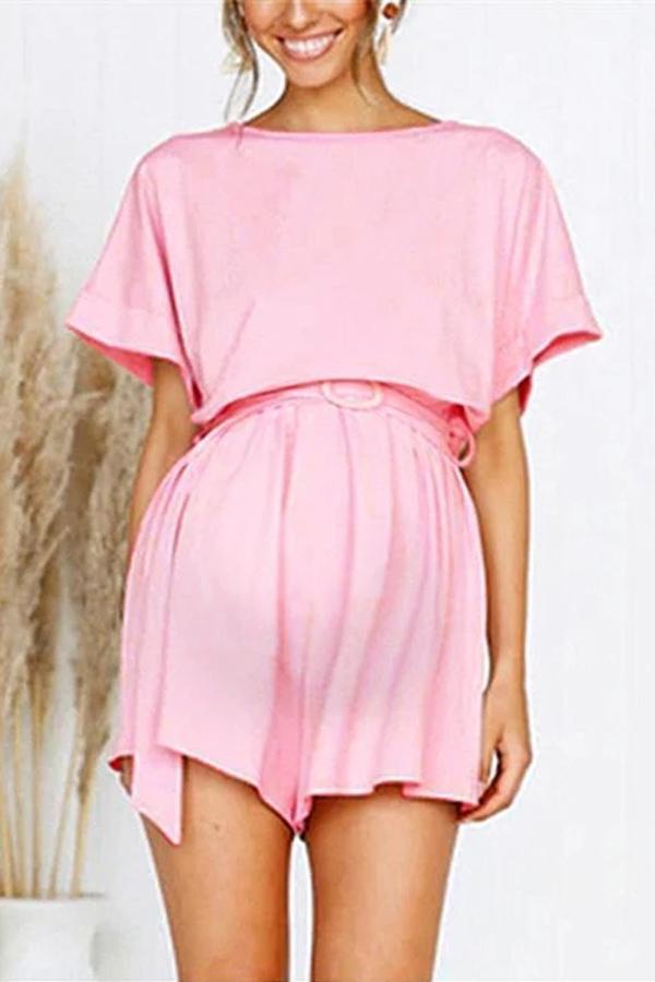 Maternity Women's Solid Color Short Sleeve Jumpsuit