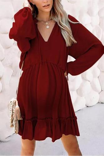 Maternity V-Neck Long-Sleeved Solid Color Dress