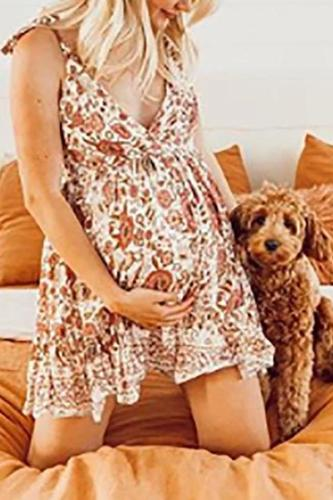 Maternity Printed V Neck Sling Dress