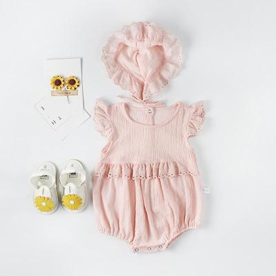 Summer New Girl Baby Fly-sleevelace Ha-shirt Baby Cotton Long-Sleeved Jumpsuit