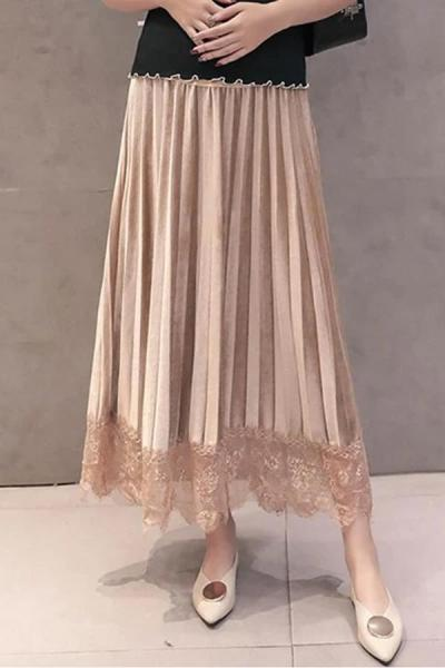 Maternity velvet pleated stitching lace long skirt