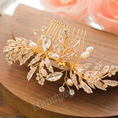 Gold Leaf Bridal Hair Comb Handmade Wedding Hair Accessories