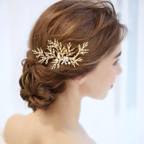 Golden Leaves Bridal Hair Comb Pearls Photography Hair Accessories