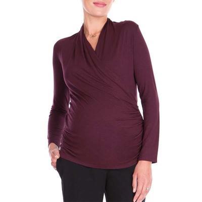 Plus Size V-neck Long Sleeve Maternity Clothing Cross Breastfeeding Top Pregnancy T-shirt