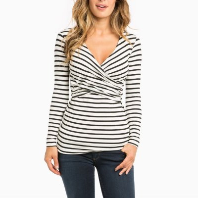 Pregnant women striped long sleeve nursing clothes jacket T shirt
