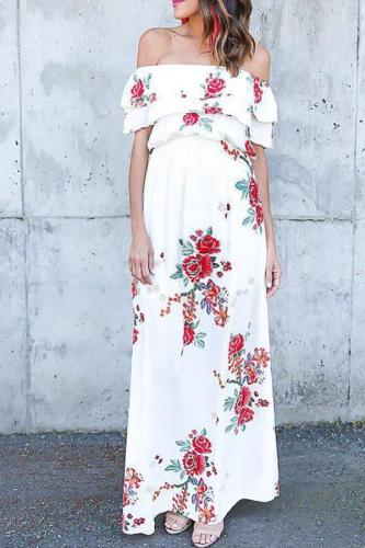 Maternity Sexy Floral Printed Off Shoulder Dress