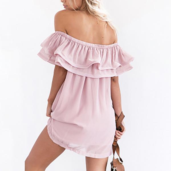 Women Flounced Slash Chiffon Neck Short Dress