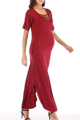 Maternity Short Sleeve V Neck Side Split Long Dress