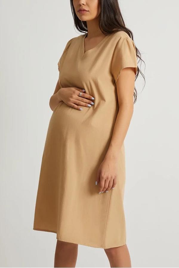 Maternity V Neck Short Sleeve Plain Casual Dress