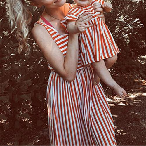 Mom Girl Sleeveless Striped Matching Dress