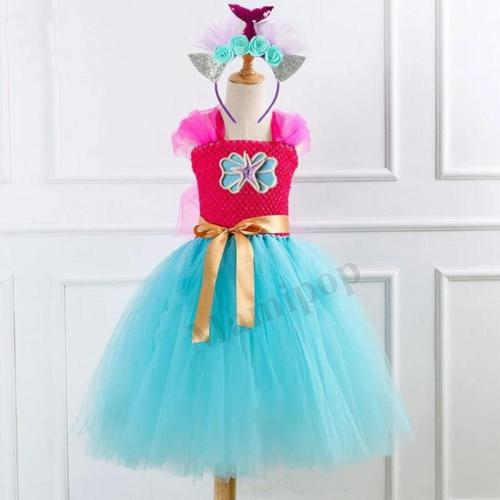 Girls Princess Mermaid Costumes With Headband For  Party Dance Long Dress