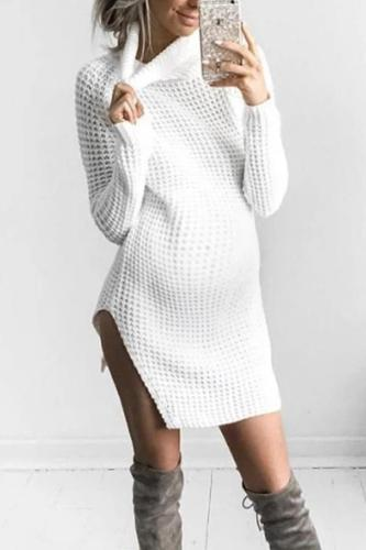 Maternity Solid Color Split Turtleneck Sweater