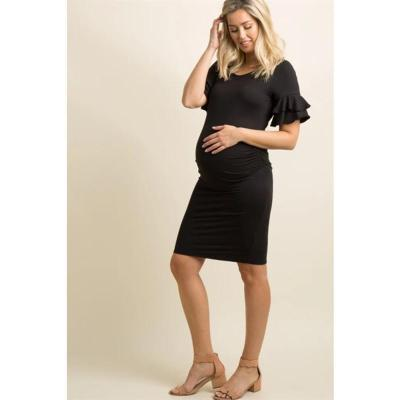 Maternity Dress Flared Sleeves Collar Dress