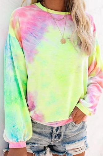 Autumn 2020 New Lantern Long Sleeve Tie Dye T-Shirt Top