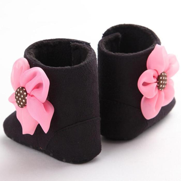 Infant Toddler First Walker Warm Girls Soft Sole Anti-Slip Prewalker Baby Bowknot Shoes