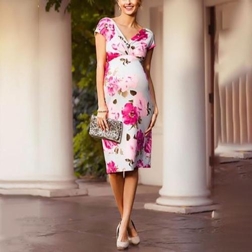 Maternity Huai Printed Colour V Neck Middle Dress