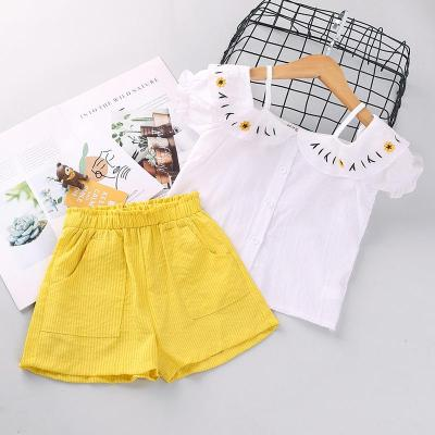 Summer 2020 new girls' kit one-word print short sleeve two-piece set